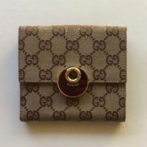 Gucci GG-print beige/red bi-fold wallet